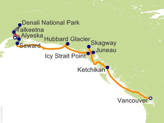 12 Night Alaska Mountain Medley Cruisetour 5B