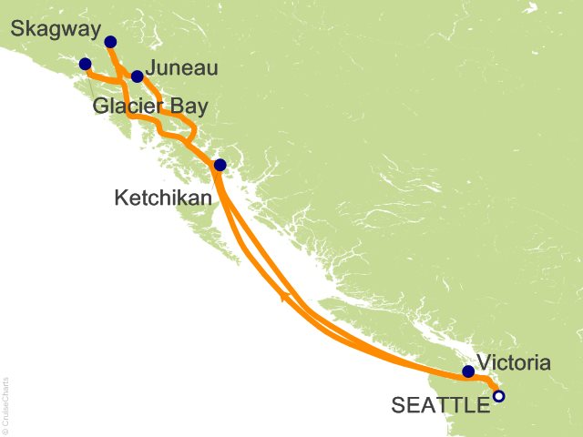 7 Night Alaska Round trip Seattle   Glacier Bay  Skagway and Juneau Cruise