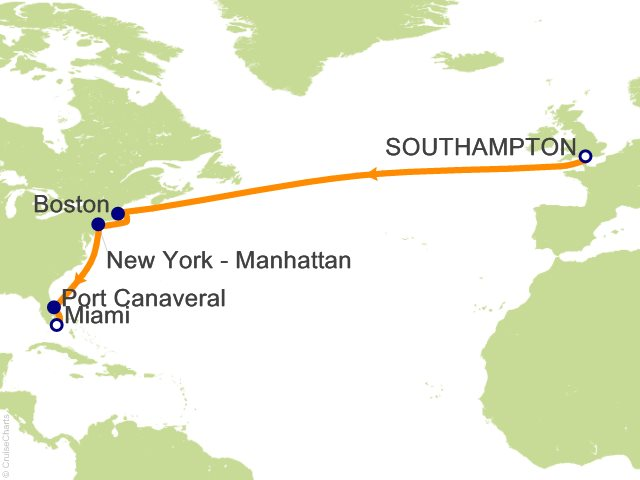 13 Night Us East Coast Transatlantic Cruise From Southampton