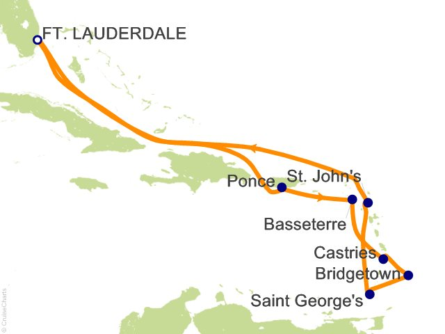 Night Southern Caribbean Cruise On Serenade Of The Seas From - Southern caribbean map