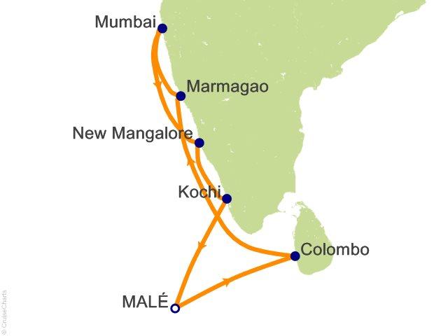 Night Maldives Sri Lanka India Cruise On Costa NeoClassica From - India maldives map male