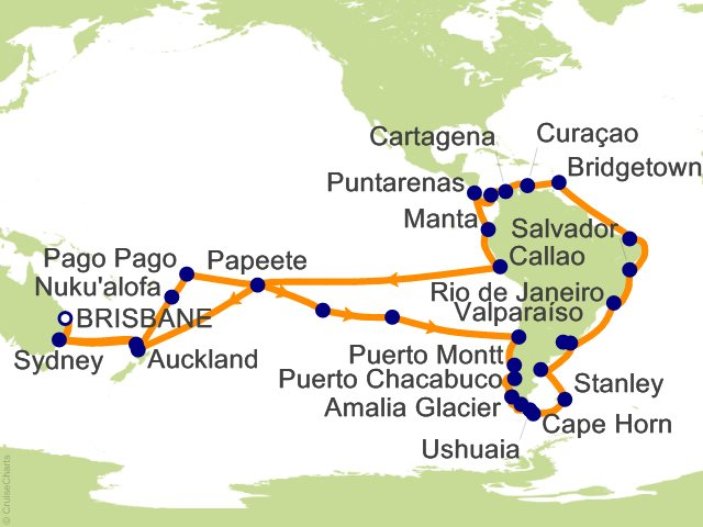 89 Night Circle South America Cruise on Sea Princess from Brisbane