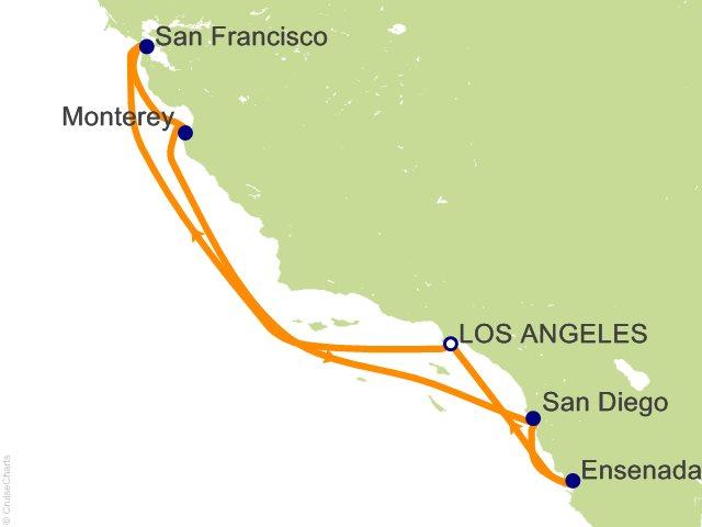 Night Classic California Coast Cruise On Ruby Princess From Los - California coast cruises