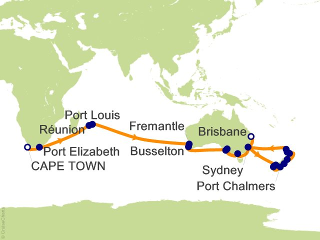 43 night cape town to brisbane cruise on queen mary 2 from cape town sailing january 27 2018 on - Cape town to port elizabeth itinerary ...