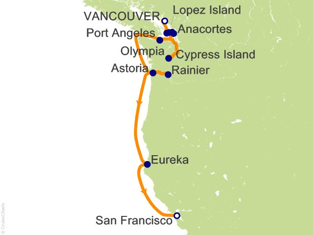 Night American West Coast Expedition Cruise On Silver Explorer - Us west coast vancouver island map