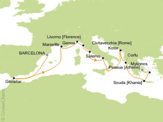 14 Night Western Mediterranean And Aegean Medley Cruise From Barcelona