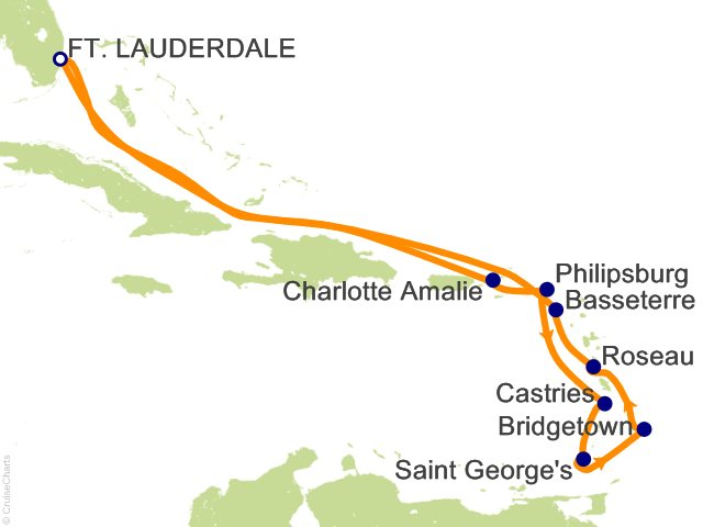 Night Southern Caribbean Cruise On Celebrity Silhouette From - Southern caribbean map