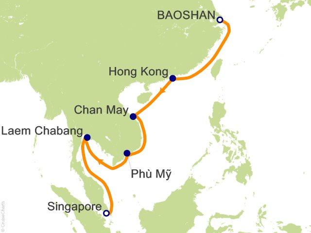 Night China Vietnam Thailand Cruise On Celebrity Constellation - Baoshan map
