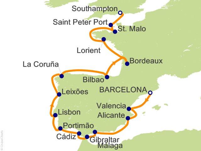 16 Night Barcelona to London Southampton Cruise on Seven Seas