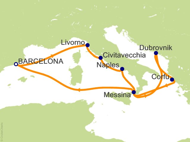 Night Europe From Barcelona Cruise On Carnival Horizon From - Barcelona map of europe
