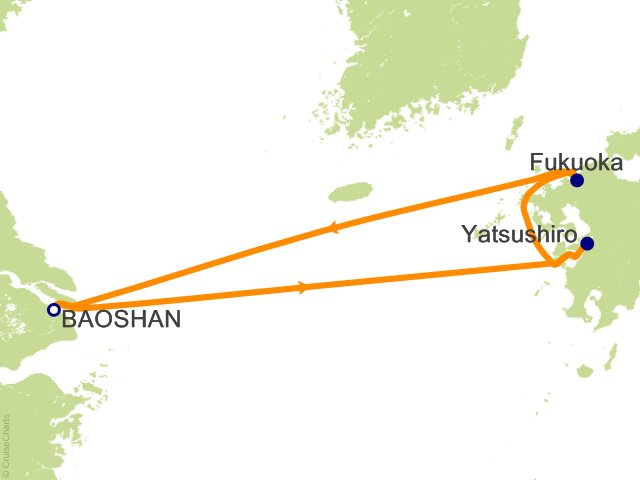 Night Kumamoto And Fukuoka Cruise On Quantum Of The Seas From - Baoshan map