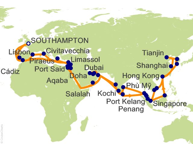 94 Night Southampton Far East Round Trip Cruise on Queen Mary 2 from