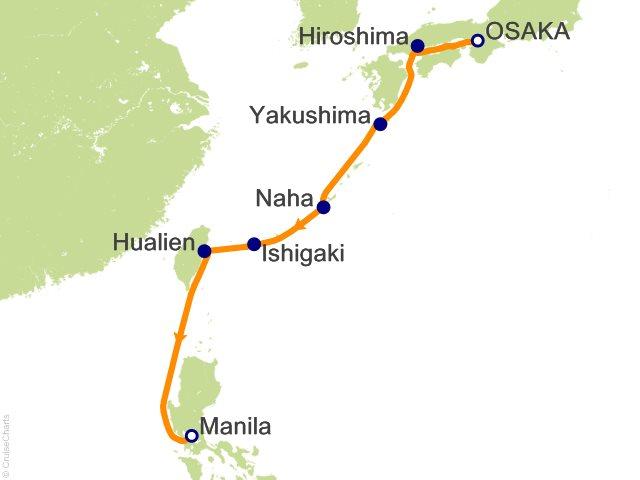 Night Ancestral Japan Cruise On LAustral From Osaka Kyoto - Japan map yakushima