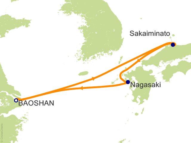Night Sakaiminato And Nagasaki Cruise On Quantum Of The Seas - Baoshan map