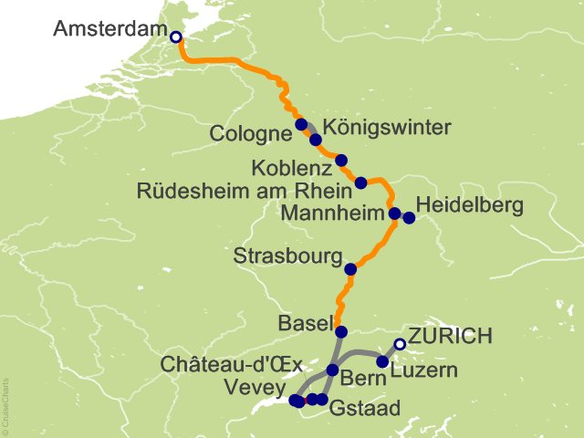 11 Night Rhine Highlights with Switzerland Cruise and Land Tour on