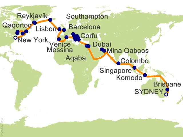 Night World Cruise Segment Sydney To New York Cruise On Sea - Sydney map world