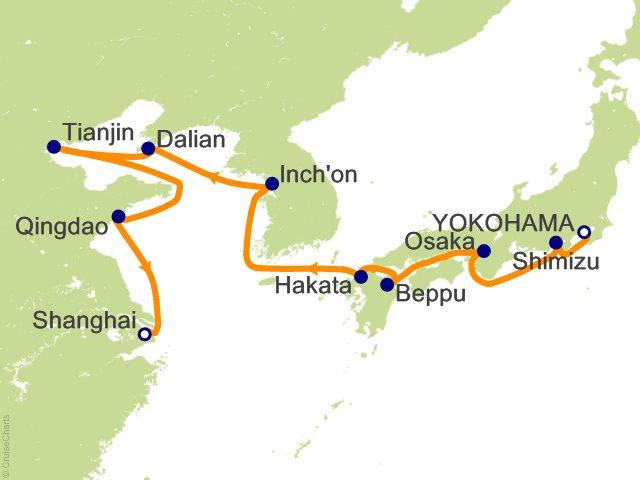 Night Japan And China Cruise On Westerdam From Yokohama Sailing - Japan map beppu