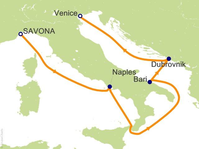 5 Night Italy Croatia Cruise on Costa Deliziosa from Savona sailing