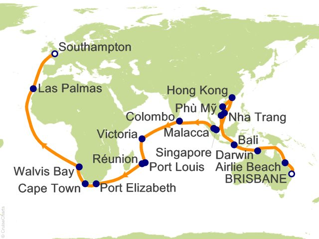 57 Night Brisbane to Southampton Cruise on Queen Victoria from