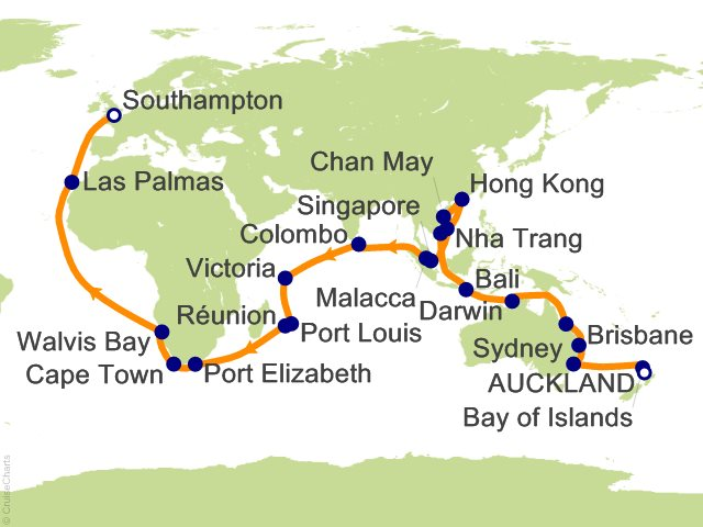 64 Night Auckland to Southampton Cruise on Queen Victoria from