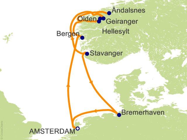 9 Night Netherlands Norway Germany Cruise on Costa Mediterranea from