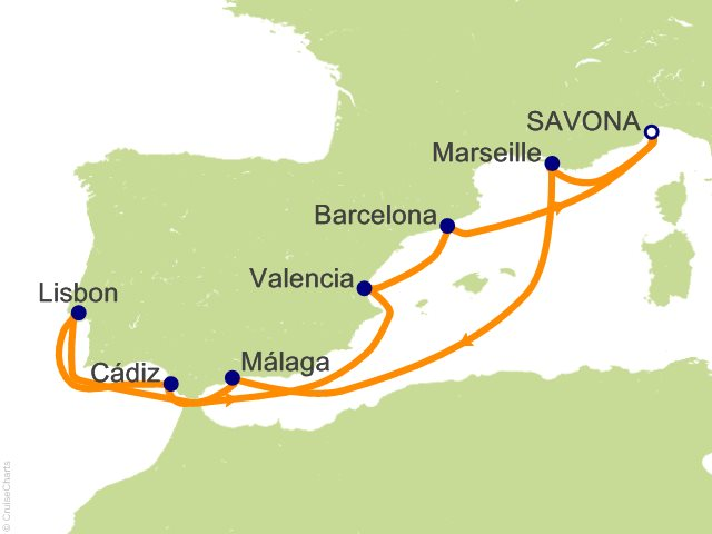10 Night Italy France Spain Portugal Cruise on Costa Favolosa from