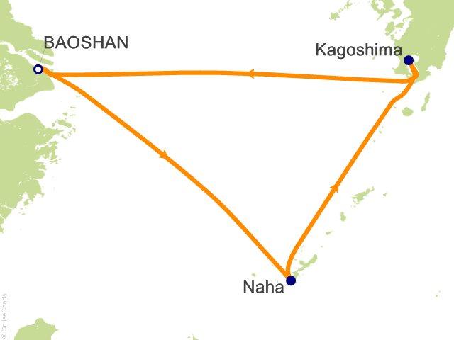 Night Okinawa And Kagoshima Cruise On Quantum Of The Seas From - Baoshan map