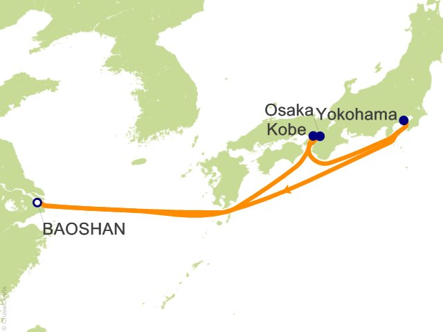 Night Ultimate Japan Cruise On Quantum Of The Seas From Baoshan - Baoshan map