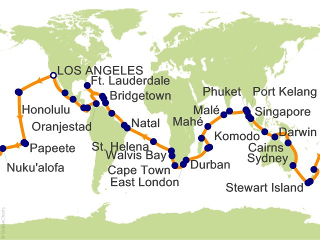 111 Night World Cruise Roundtrip Los Angeles Cruise On Pacific Princess From Los Angeles Sailing