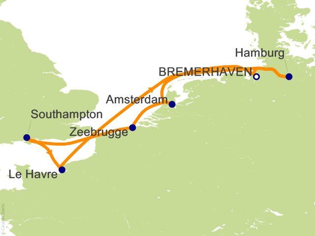 7 Night Germany Netherlands Belgium England France Cruise on Costa