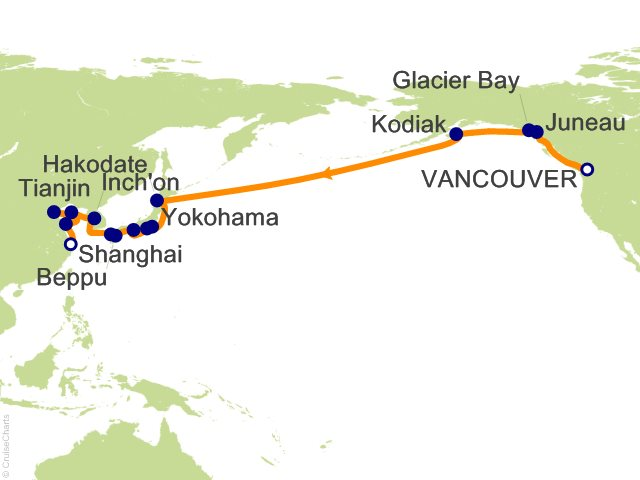 Night North Pacific Crossing Japan And China Collectors Voyage - Japan map beppu