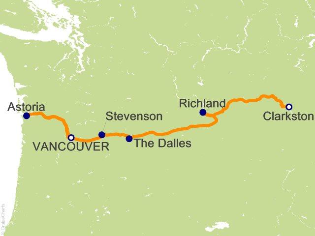 8 Night Portland  OR (Vancouver  WA) to Spokane  WA (Clarkston) Cruise and Land Tour