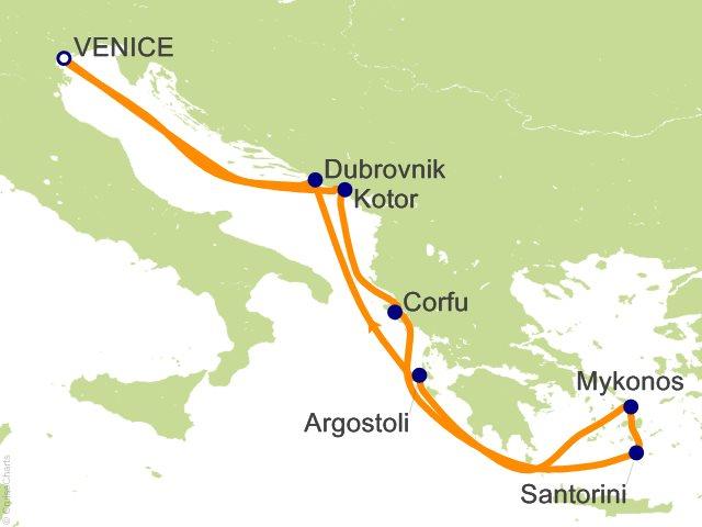 7 Night Greek Isles Round trip Venice   Santorini  Mykonos and Croatia Cruise