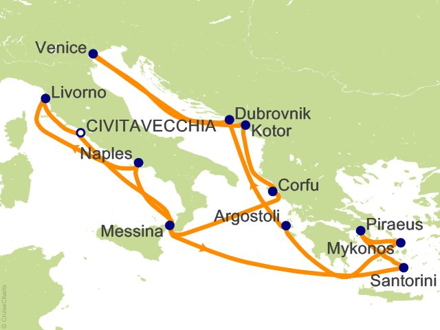 14 Night Greek Isles And Italy From Rome Civitavecchia