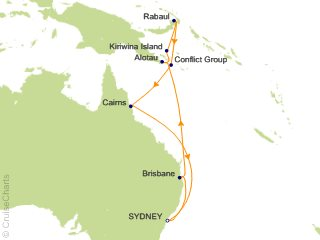 Map Of Australia New Zealand And Papua New Guinea.Cunard Line Australia New Zealand Cruise 14 Nights From Sydney