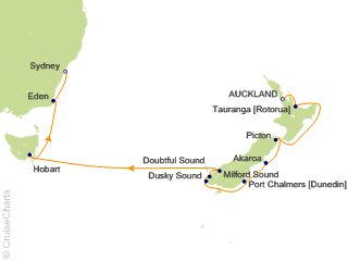 Map Of Australia New Zealand And Tasmania.Celebrity Australia New Zealand Cruise 12 Nights From Auckland