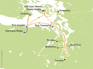 American Cruise Lines Pacific Coastal Cruise 10 Nights From Seattle - Puget-sound-on-us-map