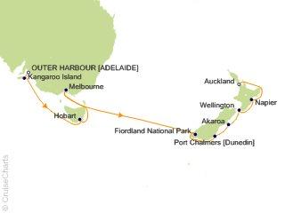 Map Of Australia New Zealand And Tasmania.Cunard Line Australia New Zealand Cruise 14 Nights From Adelaide