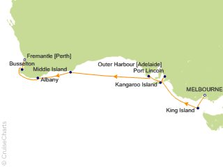 Map Of Australia King Island.Crystal Australia New Zealand Cruise 10 Nights From Melbourne