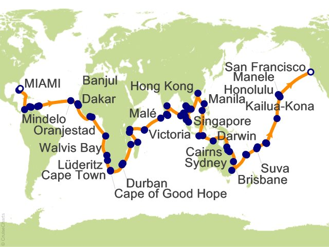 Seabourn World Cruises Cruise, 146 Nights From Miami, Seabourn ... on map of democratic kampuchea, map of malawi, map of mongolia, map of united arab of emirates, map of jinzhou, map of asia, map of cantonese, map china, map of ormuz, map of nanjing university, map of sulaymaniyah, map of cotai, map of hong kong, map of scotland, map of sao tome principe, map of french equatorial africa, map of bissau, map of hankou, map of no. africa, map of brunei,