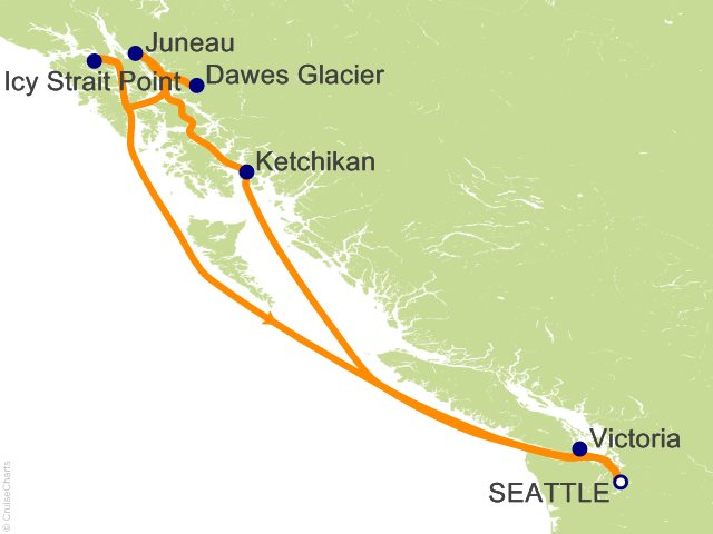 7 Night Alaska Roundtrip Seattle   Dawes Glacier  Juneau and Ketchikan Cruise