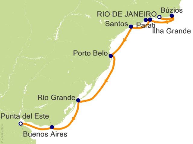 10 Night Rio de Janeiro to Buenos Aires Cruise