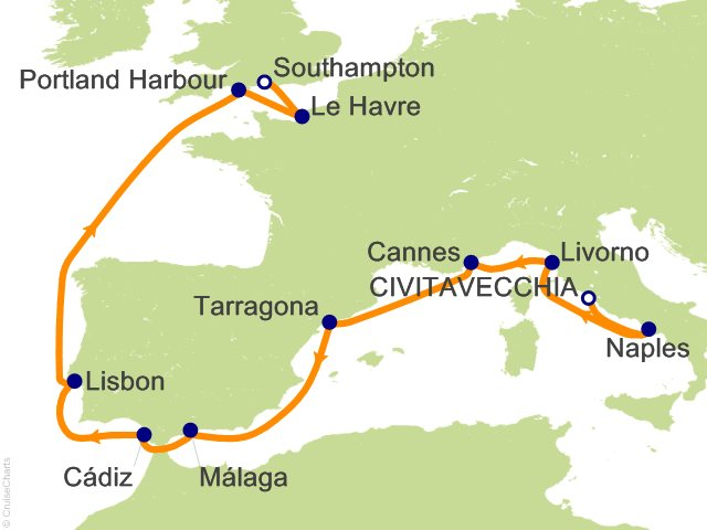 Map Of Italy France And Spain.Ncl Europe Cruise 12 Nights From Civitavecchia Rome Norwegian
