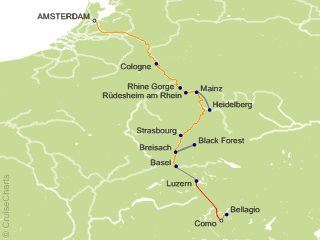 11 Night Romantic Rhine with Mount Pilatus  1 Night in Lucerne and 3 Nights in Lake Como (Southbound) Cruise and Land Tour from Amsterdam