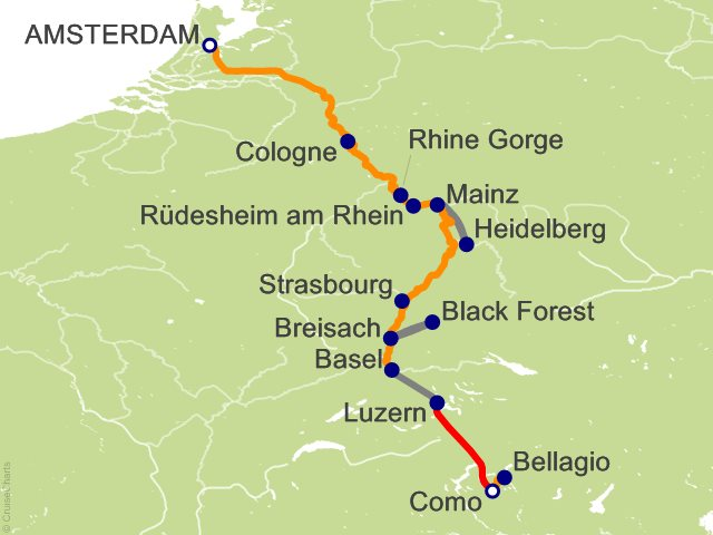 11 Night Romantic Rhine with Mount Pilatus  1 Night in Lucerne and 3 Nights in Lake Como (Southbound) Cruise and Land Tour