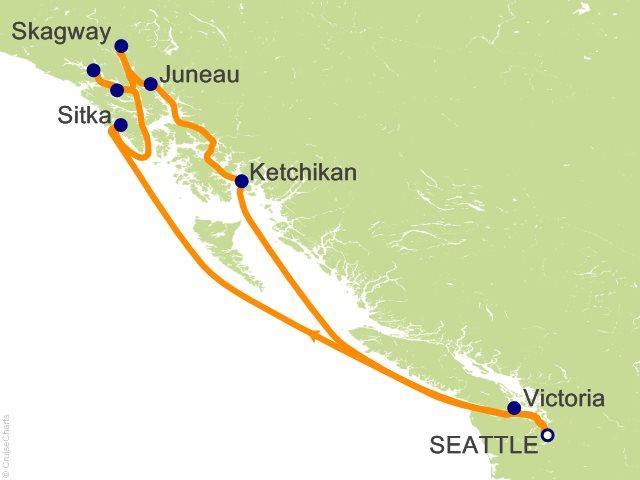 9 Night Alaska Round trip Seattle   Glacier Bay  Skagway and Juneau Cruise