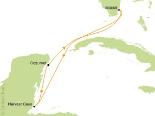 5 Night Caribbean Round trip Miami   Harvest Caye and Cozumel Cruise from Miami