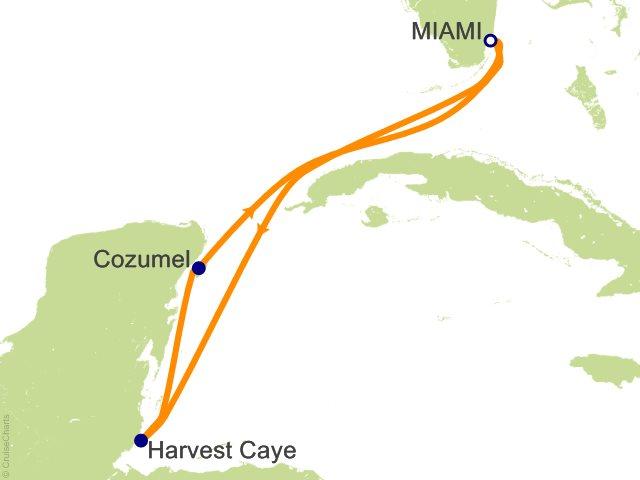 5 Night Caribbean Round trip Miami   Harvest Caye and Cozumel Cruise
