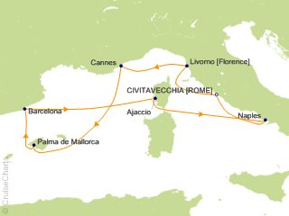 7 Night Mediterranean Round trip Rome   Italy  France and Spain Cruise from Civitavecchia (Rome)