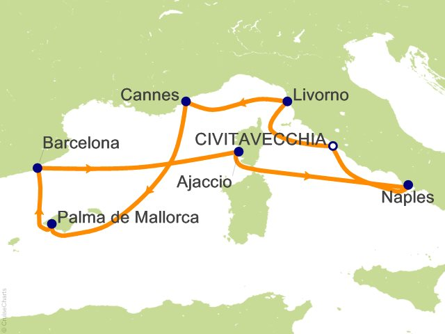 7 Night Mediterranean Round trip Rome   Italy  France and Spain Cruise